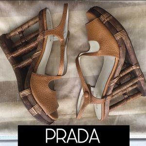 PRADA RARE Wedge Bamboo Leather Heels 37.5 NEW NWT